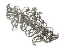 Antique Vintage Silver Crystal Butterfly Barrette Bridal Hair Clip Slide Grip