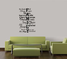 FAMILY RULES THANKFUL COLLAGE -2 WALL DECAL HOME QUOTE VINYL ART STICKER WORDS