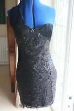 Cotton Club size 12 lined Black lace sequinned one shoulder clubbing mini dress