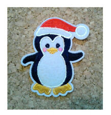 Penguin - Bird - Santa Hat - Christmas - Crafts - Embroidered Iron On Patch