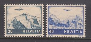 Switzerland Sc C43-C44 MLH. 1948 Air Post complete set, changed colors