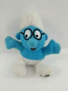 2000 Mcdonalds Happy Meal Toy UK - Brainy Smurf - Soft Plush toy #732
