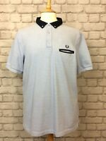 FRED PERRY MENS UK XL BLUE OXFORD SLIM FIT SHORT SLEEVE SHIRT DESIGNER SUMMER