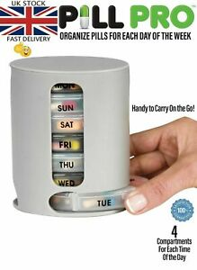 TABLET PILL BOX 7 Day Weekly Medicine Box Pill Organiser PILL PRO BOX