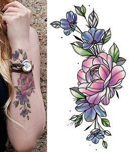 Temporary Tattoo Pastel Sketch Rose Flower Fake Body Art Sticker Waterproof