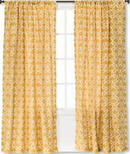 "TWO THRESHOLD FARRAH FRETWORK WINDOW PANELS SUN ECLIPSE YELLOW 54x95""NEW (HAVE 4"