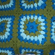 Hand Made Crafted Crochet Chunky Afghan Throw Turquoise Teal Green Beach Cottage