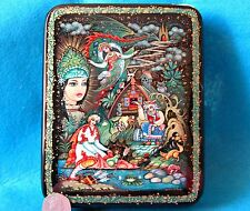 Russian HAND PAINTED KHOLUI LACQUER box Fairy Tale Frog Princess ORLOVA signed