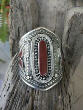 Asian Sterling silver Bangle Cuff Bracelet Tibetan Garnet stone Asian Art MK4