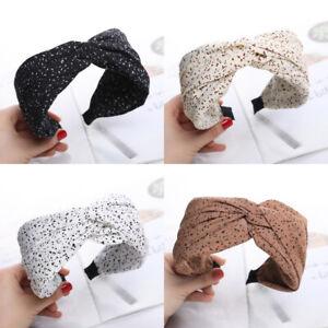 Women's Tie Hairband Headband Twist Dot Printed Wide Hair Band Hoop Accessories