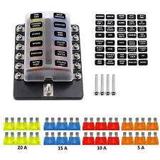 VETOMILE Car Automotive 1 In 12-way Fuse Box Holder 5A 10A 15A 20A Fuses Screw