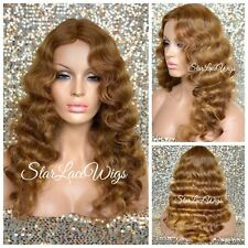 Long Wig Light Golden Brown Strawberry Blonde Mix Body Wave Middle Part Heat Ok