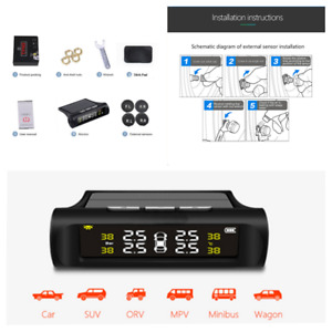 Solar Car Tire Pressure Monitor System LCD Digital Display w/4 External Sensors