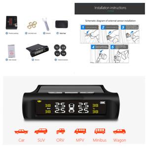 Solar Car Tire Pressure Monitor System LCD Digital Display w/4 External Sensors