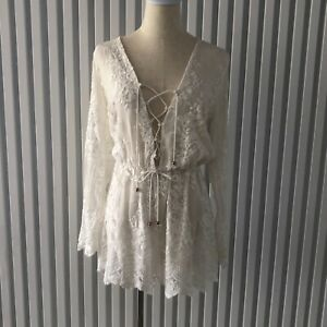 Zimmermann Ivory Long Sleeve Silk Playsuit Lined Tie Front Detail Size 0