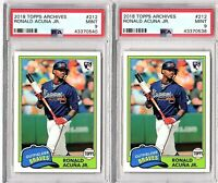 2018 TOPPS ARCHIVES #212 RONALD ACUNA (Lot of Two Cards) ROOKIE  PSA MINT 9