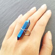 Tibetan Blue Quartz Crystal Point Ring -Healing Stone- Aura Boho Silver-Bohemian