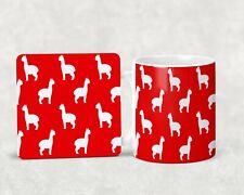 More details for alpaca pattern bright mug and coaster set gift christmas birthday