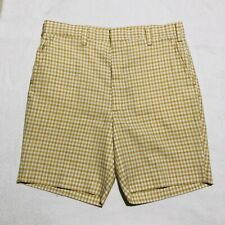 Vintage 60s 70s Plaid Checked Mens Shorts 36 Rockabilly 50s Summer Yellow  Talon