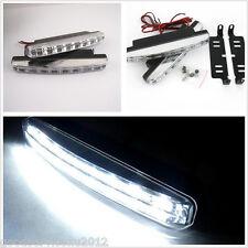 2 x White 8 LED DRL Daytime Car Running Driving Lights Fog lamps 12V For Toyota