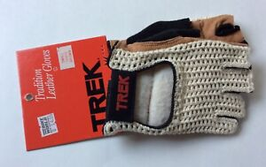 NOS! TREK TRADITION LEATHER CYCLING GLOVES SIZE SMALL BROWN #50450 ON CARD