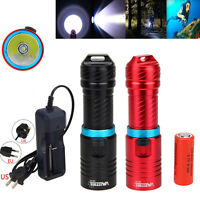 Waterproof 120m 10000Lm XM-T6 LED 26650/1860 Scuba Diving Flashlight Torch Lamp