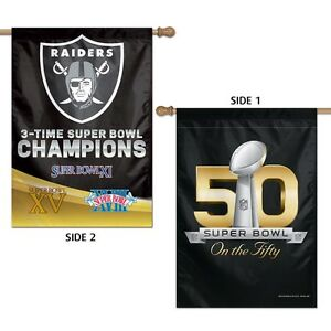 """OAKLAND RAIDERS 3X SUPER BOWL CHAMPIONS 28""""X40"""" DOUBLE SIDED BANNER FLAG NEW"""
