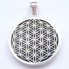 Flower of Life Sterling Silver Pendant with Onyx