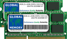 8GB (2 x 4GB) DDR3 1333MHz PC3-10600 204-Pin SODIMM KIT MEMORIA RAM per Laptop