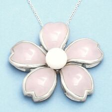 Pink Quartz & White Agate Necklace .925 Sterling Silver New ss