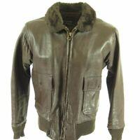 Vintage 70s G1 US Navy Bomber Jacket 42 Brown Leather Goatskin Mouton Collar