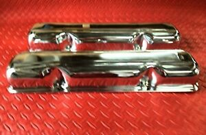 """VALVE COVERS AMC JEEP 390 360 401 304 TRIPLE CHROME PLATED NEW COVER 3"""" 9174"""