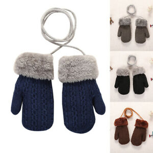 Winter Warm Newborn Baby Boy Girl Kids Thick Fur Gloves Mittens with Neck String