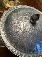 RetroVintage Hand Forged Hammered Lidded Bowl With Tulips And Decorative Handles
