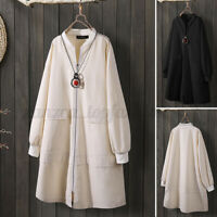 ZANZEA Women Zip Up Long Sleeve Jacket Coat Loose Plain Outwear Trench Coat Plus