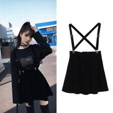 Harajuku Mini Skirt Pleated Suspender Skirt Black Velvet Skater Flared Dress