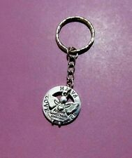Angels Watching Over Me Love Hope Faith Ring Two Sided Antique Silver Keyring