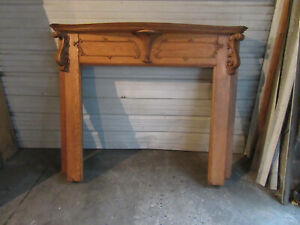 ~ ANTIQUE CARVED OAK FRENCH STYLE FIREPLACE MANTEL ~ 60 X 50 42 OPEN ~ SALVAGE