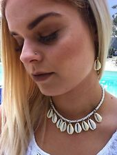 Choker Necklace Cowrie Shell Silver Beads Surf Kuchi Gypsy Festival Designer