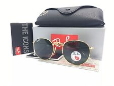 FREE SHIP !! Ray Ban Round RB3447 112/58 Gold Frame Polarized Green Lens 50mm