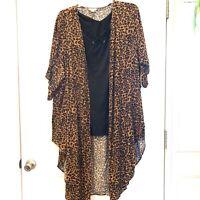 Terra & Sky Size 3X 24W-26W Leopard Print Kimono & Knit Tank 2For New NWT