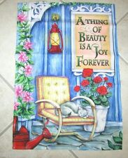 A Thing of Beauty is a Joy Forever Small Art Garden Flag Beautiful Porch Setting