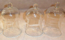 "3 Elegant Bell Shape Clear Glass No Decoration Votive Candle Holders 5 1/4"" T"