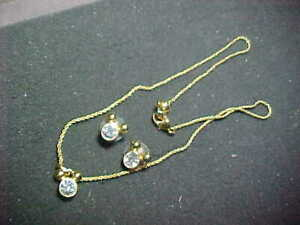 GOLD PLATED RHINESTONE Disney Mickey Mouse Necklace EARRINGS
