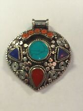 Tibetan Buddhist Turquoise Coral Pewter Pendant Necklace Locket Handmade Nepal 3