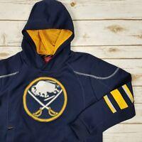 Reebok Face Off Buffalo Sabres NHL Navy Yellow Hoodie Sweatshirt Jersey Sz 14-15