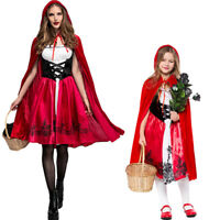 Women Girls Little Red Riding Hood Costume Cloak Cosplay Halloween Fancy Dresses