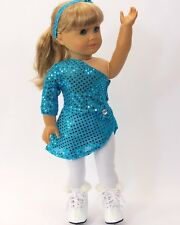 """Doll Clothes Fit AG 18"""" Ice Skating Teal Tights Skates Fits American Girl Dolls"""