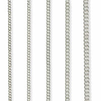 STERLING SILVER CURB CHAIN 16 18 20 22 24 30 925 FLAT DIAMOND CUT TRACE NECKLACE