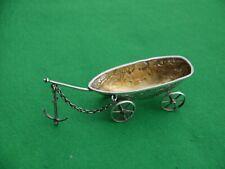 More details for excellent antique hm 1902 sterling silver miniature boat on wheels 35grm